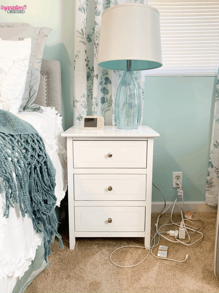 Hiding bedside cords and wires