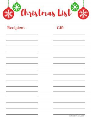 Free Printable Christmas Shopping List. Make Christmas shopping even more fun with this handy cute printable.