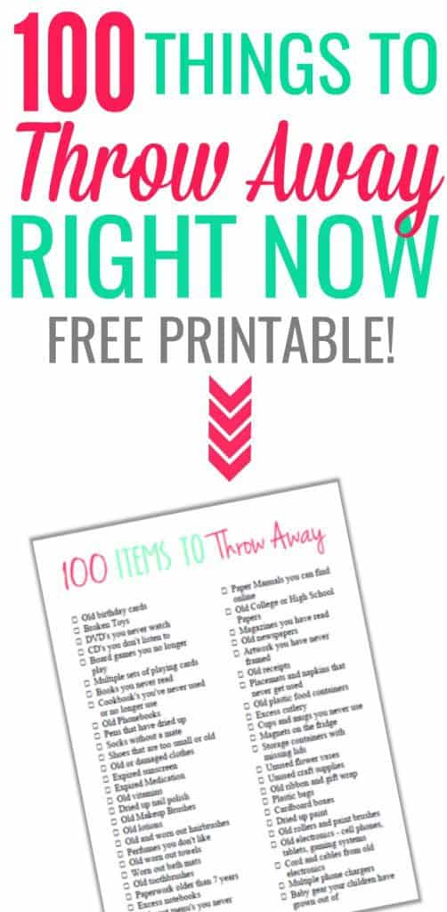 100 Things To Throw Away Right Now