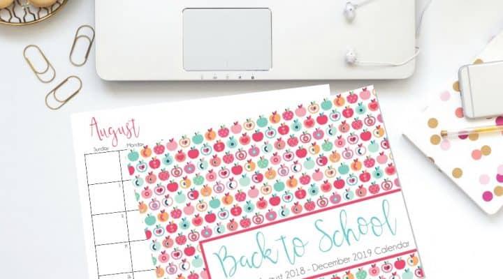 Free Back To School Calendar