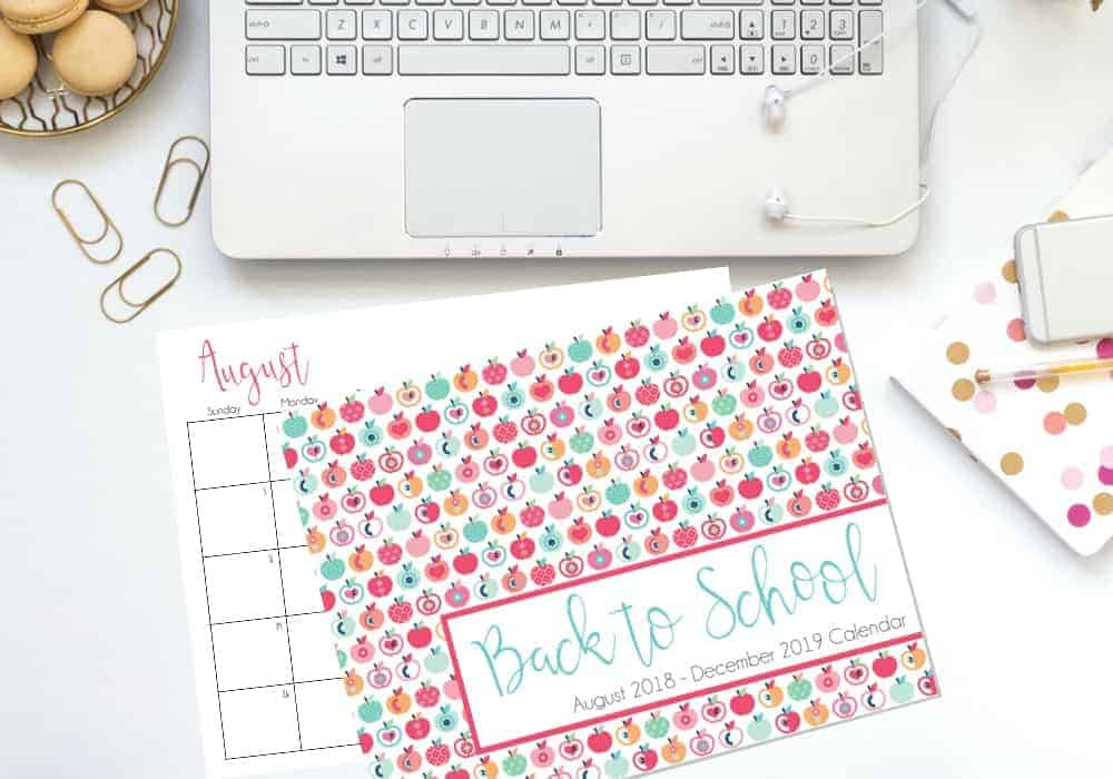 Free Back To School Calendar