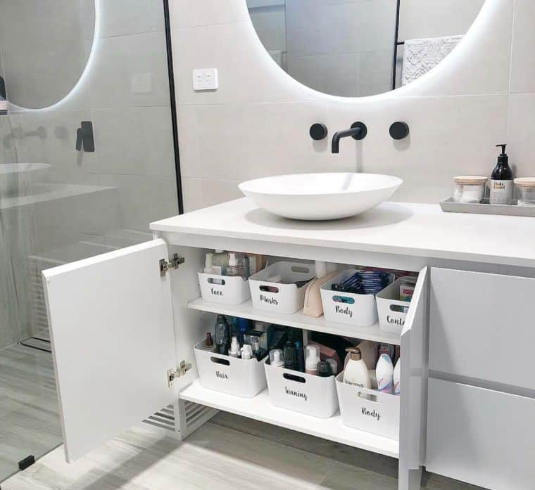organized undersink storage using Ikea containers