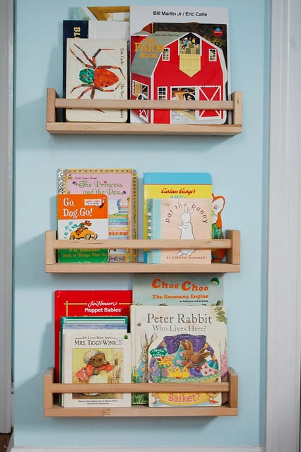Ikea spice racks used as children's bookshelves