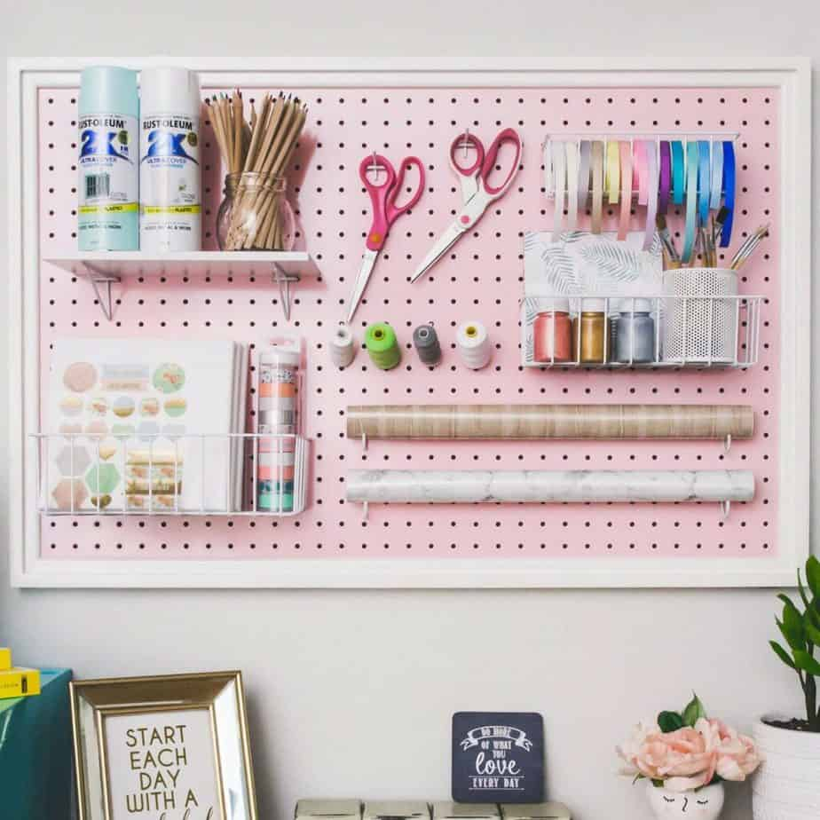 pegboard organization for craft spaces