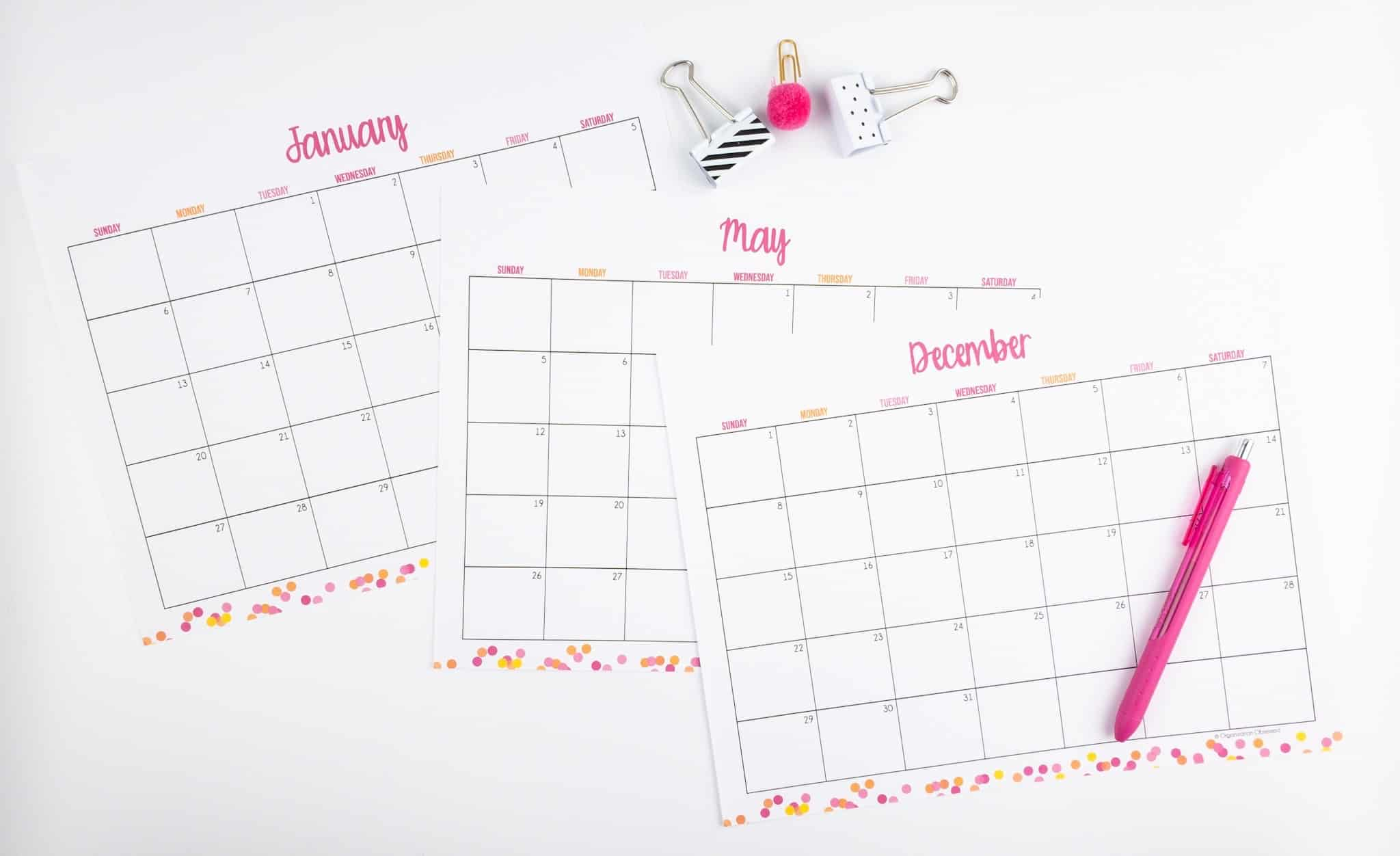 Free 2019 Calendar Polka Dots
