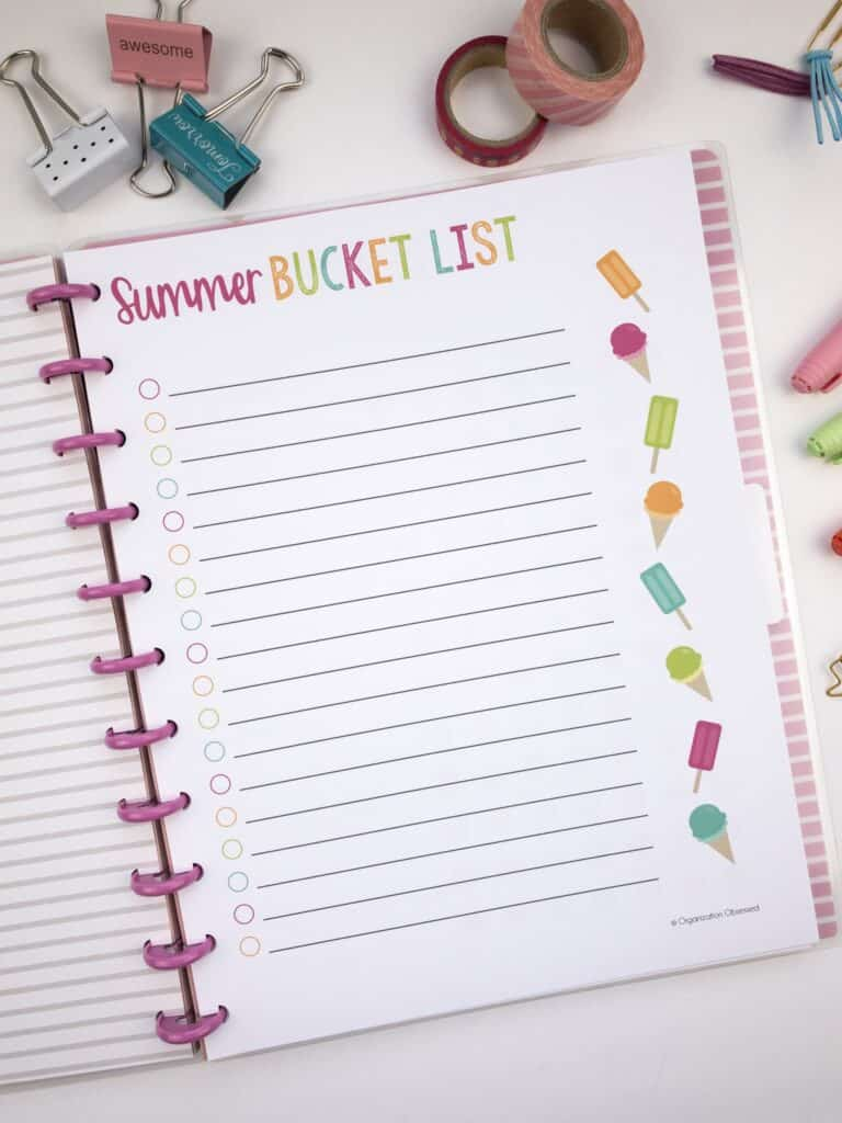 Summer Bucket List Printable