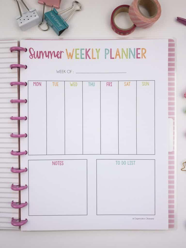 Summer Weekly Planner Printable