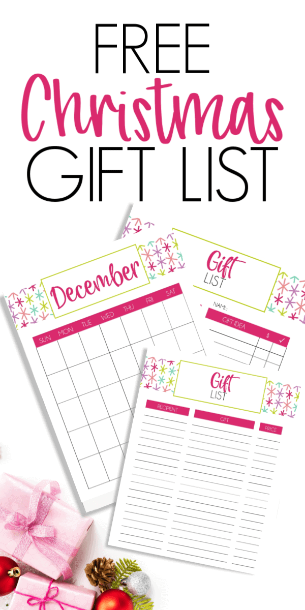 Free Christmas Gift List Planner