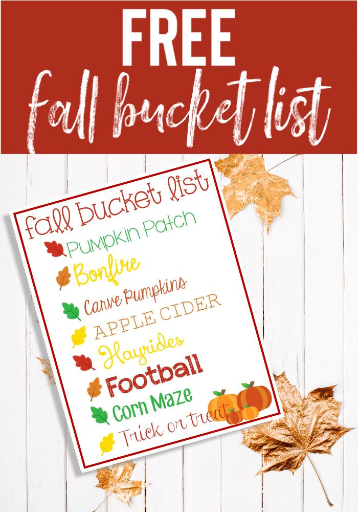 Free Fall Bucket List Printable