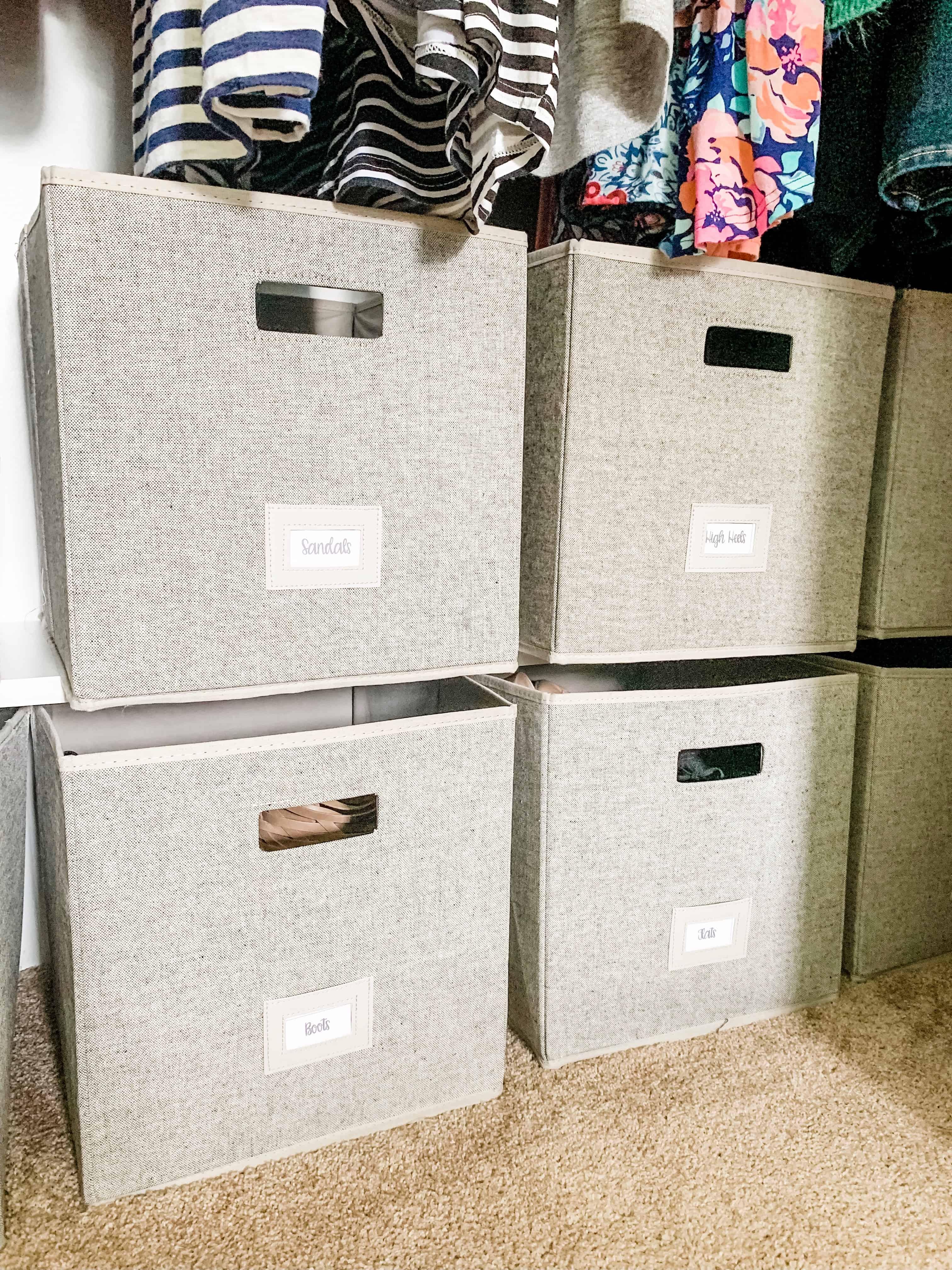 Storage bins a closet