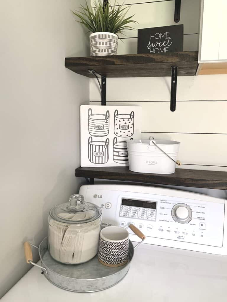 Laundry room dryer sheet storage and change jar