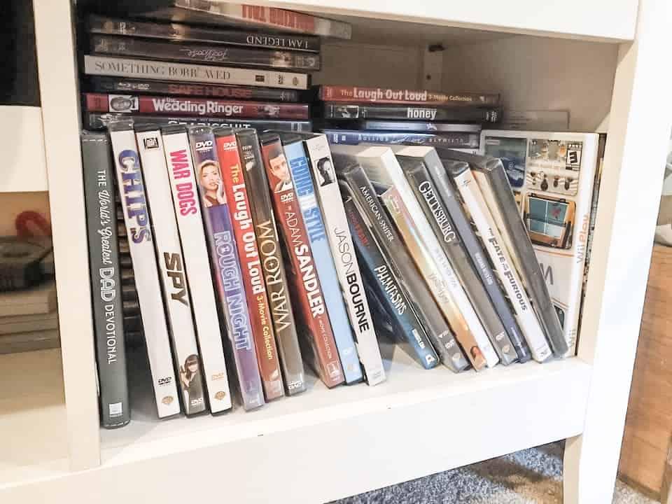 DVD's on a shelf