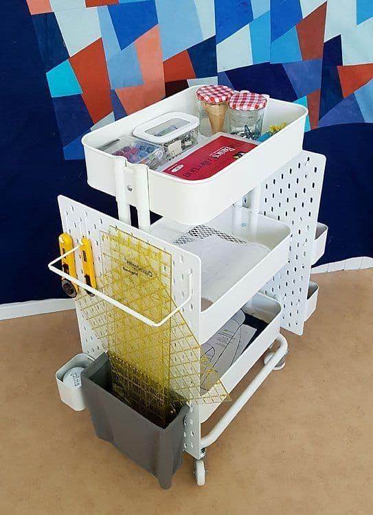 Ikea cart hack using pegboards