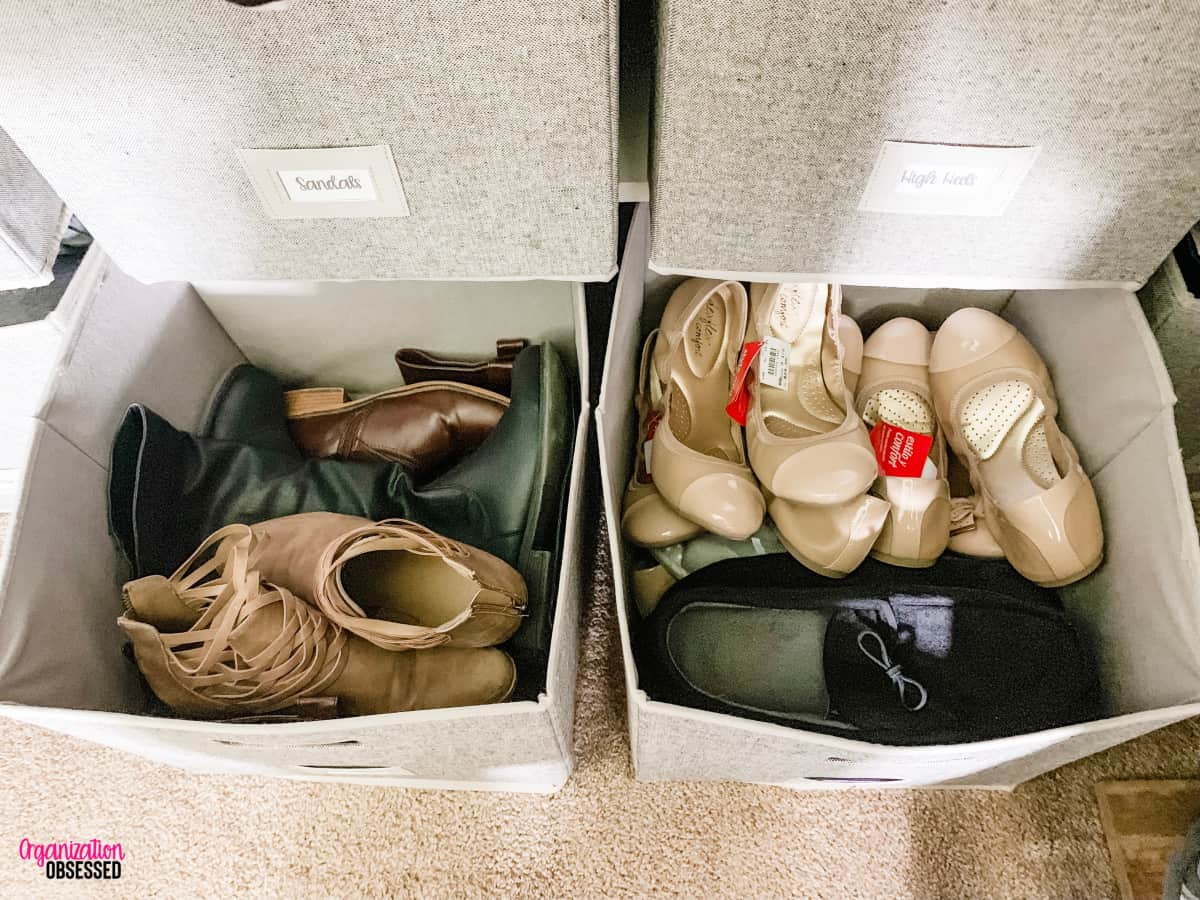 cube storage bins with shoes