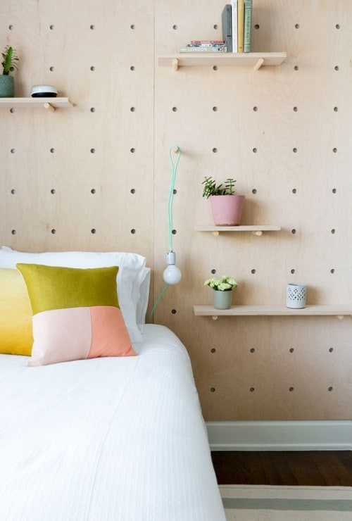 headboard pegboard wall organization