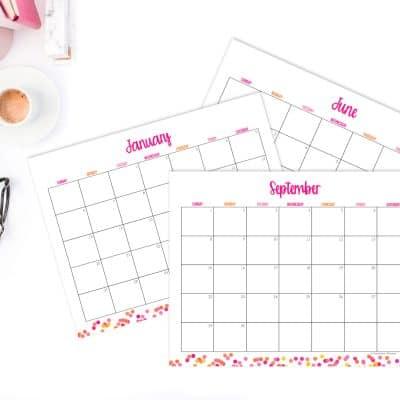 Free 2019 Calendar with Polka Dots