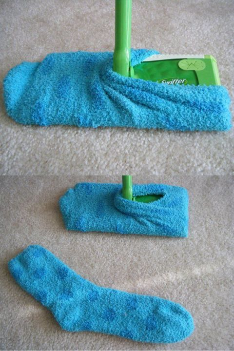 DIY Swiffer cloths with chenille socks