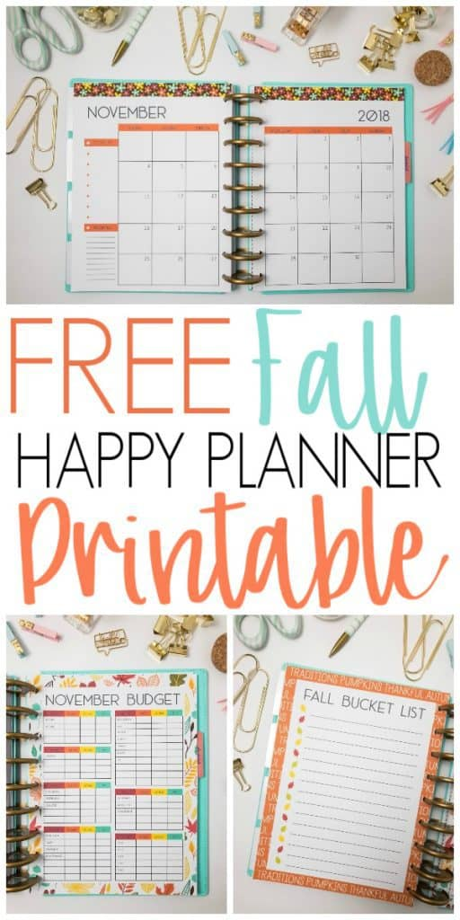 Fall Happy Planner Printable Inserts