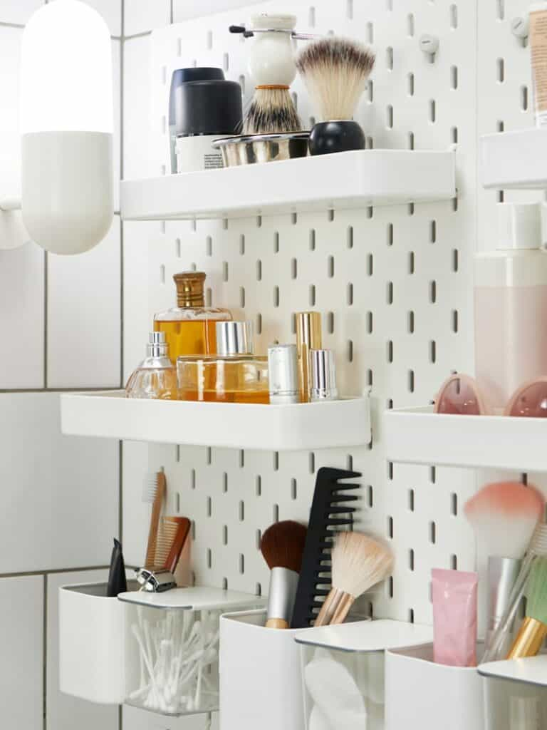 pegboard bathroom organization and storage
