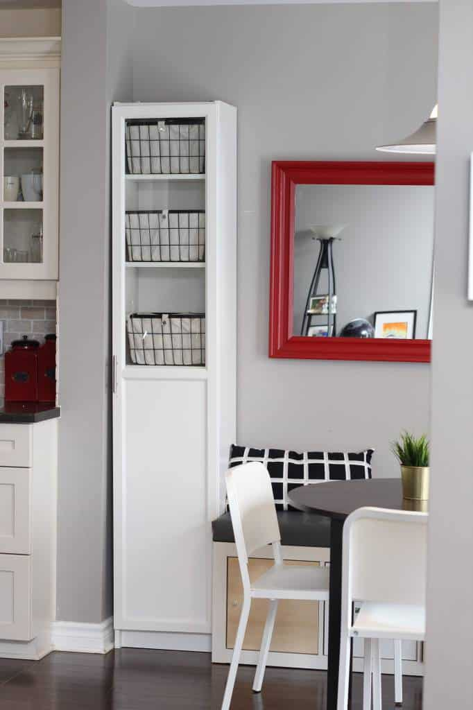 freestanding pantry made out of Ikea Billy bookshelf