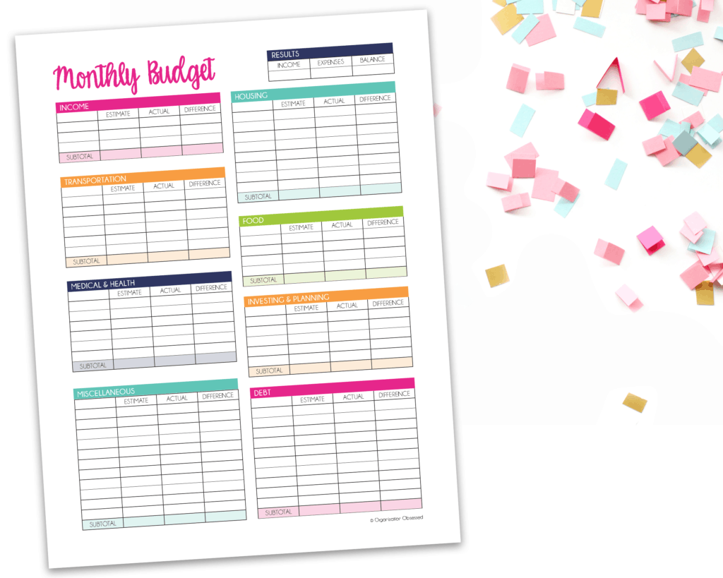 Monthly Budget Template Free Printable Organization Obsessed