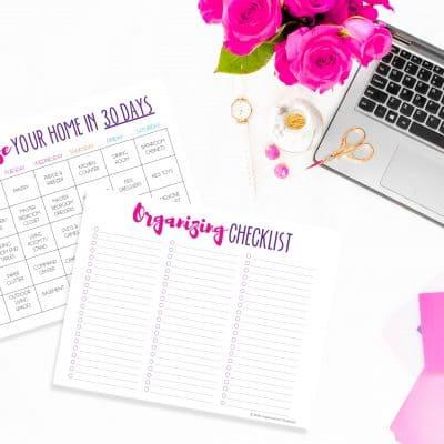 Organize Your Home In 30 Days Calendar