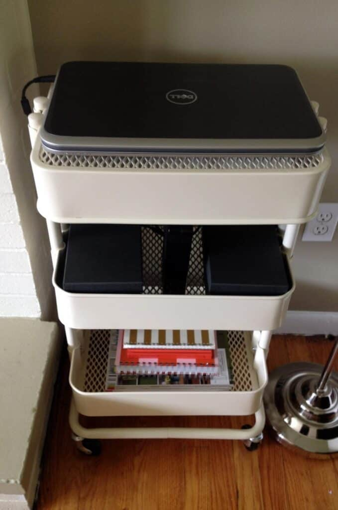 Ikea cart used as a laptop station