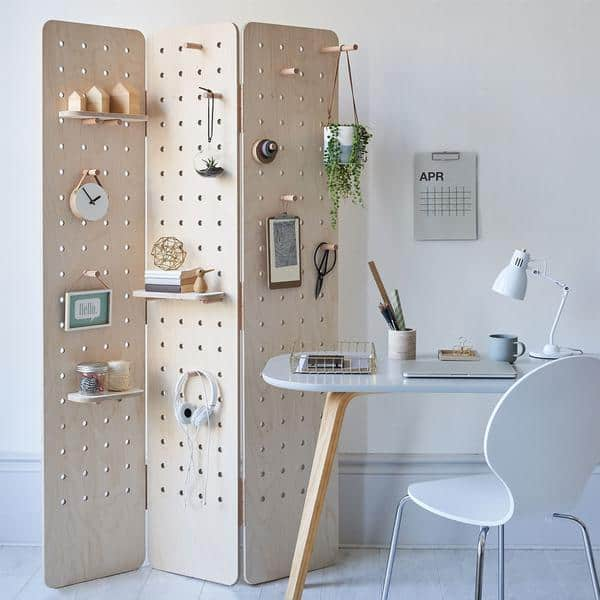 room divider pegboard organization ideas