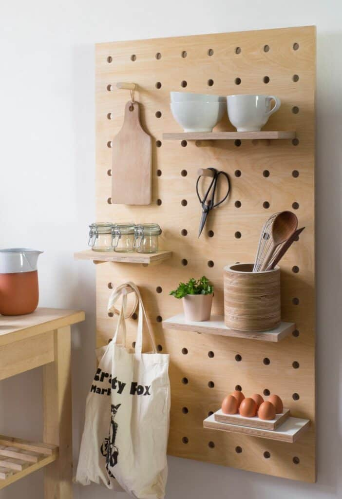 pegboard organization ideas for small kitchens